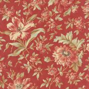 Moda Larkspur by 3 Sisters - 4456 - Garden Blooms, Pink Floral on Red  - 44100 16 - Cotton Fabric